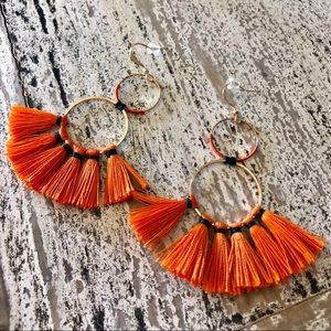 Jewelry - Gold and orange earrings, with a touch of blue